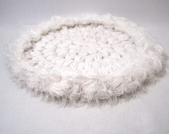 Pet Mat Pad White 18-Inch Round Cat Bed Dog Bed Furniture Cover