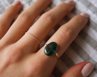 Handmade Jewelry/ Chrome Diopside/ Thin Gold Filled/ Minimalist Ring/ Gift for her/ Dainty Wired Rings/ Delicate/