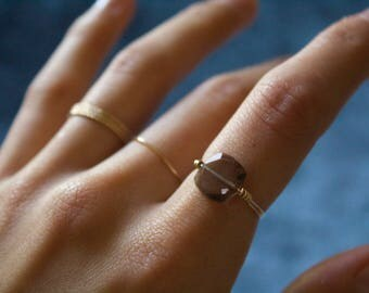 Handmade Jewelry/ Smoky Quartz Statement Ring/ Thin Gold Filled/ Minimalist Ring/ Gift for her/ Dainty Wired Rings/ Delicate/
