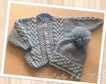 Baby Handknitted Cardigan & Pom Pom Hat Set Newborn to 24 months UK Gift