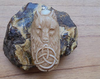 Wolf Celtic Bone Pendant in Brown/Antique Bali Bone Carving  WC02