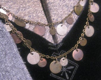 Brass Coins Double Strand Exotic Look  Necklace