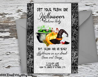 Halloween Invitation Halloween Party Invite Halloween Costume Party Invitation Trick or Treat Invite Scary Adult Invite Pumpkin Invitation