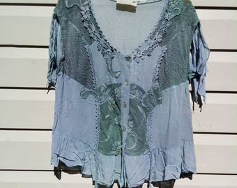 Blue Patchwork Indian Top