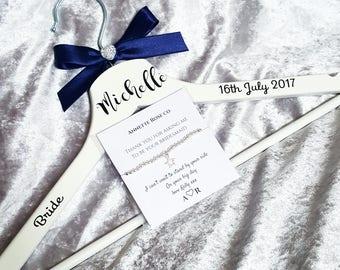 Bride gift set, Bridal hanger, Silver beaded bracelet, Personalised wedding hanger, Personalized charm bracelet card, Bride to be gift set