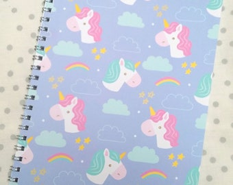 Unicorn A5 plain wire bound notebook