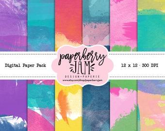 Digital Watercolor Paper Pack / 300 DPI / 12x12 / Colorful, digital, watercolor, multicolor