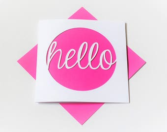 note card|hello|handmade|card for her|blank greetings card|silhouette