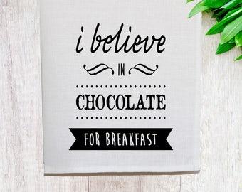Chocolate for Breakfast Linen Tea Towel [Off White]