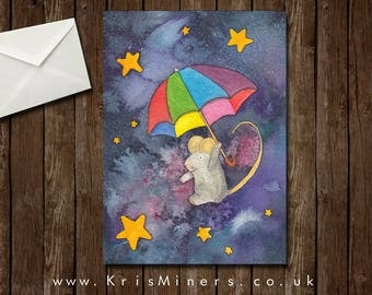 Whimsical Night Sky Mouse Greetings Card - Star Mouse