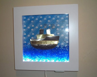 Ship Illuminated frame for kids with led lights