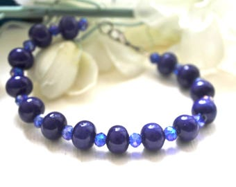 Ultramarine blue ceramic bracelet and Crystal beads
