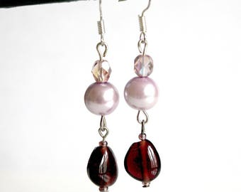 Colors of purple and plum Pearl Earrings