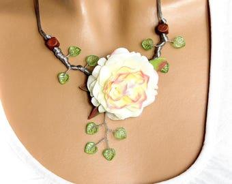 Lightweight spring necklace big fabric flower