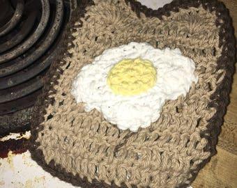 Egg and toast potholder/dishcloth