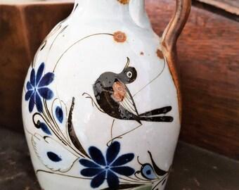 Vintage Mexican Pottery Vase, Folk Art Vase