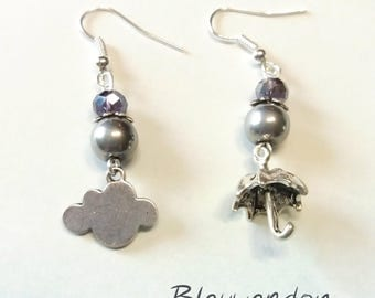 Asymmetrical cloud and umbrella earrings