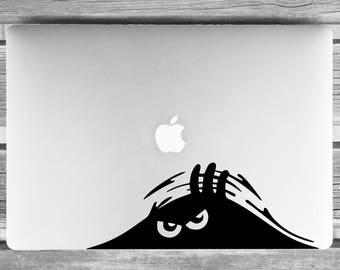 Laptop sticker, Mac laptop skin, Laptop decal, Macbook sticker, macbook decal, peeping monster