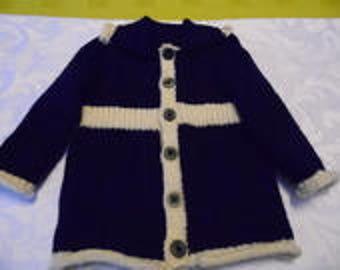 Little girl coat Navy Blue and Ecru