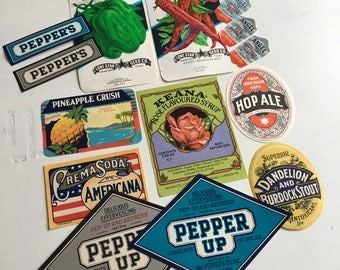 Vintage set of soda fruit labels
