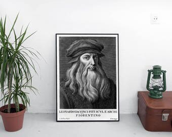 Portrait of Da Vinci / Da vinci print / Art print / Leonardo da Vinci poster / Davinci art / Portrait painting / Wall art decor / Wall decor