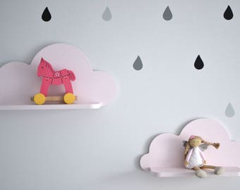 Set of 2 Cloud Shelf, Nursery Room Decor, Kids Room Decor, Nursery Wall Decor, Decorations for Bedroom