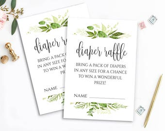 Printable Diaper Raffle Ticket Greenery Diaper Raffle Baby Shower Diaper Raffle Shower Activities Baby Shower Printables Diaper Raffle Cards