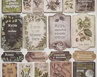 Ephemeral kit cutouts/cards of plants