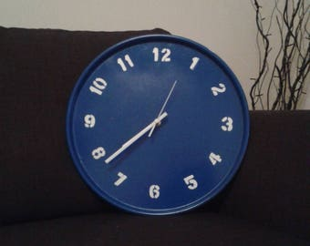 Blue metal wall clock, hand-crafted