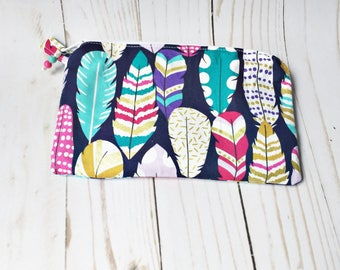 Metallic Feather print zipper pouch with custom zipper pull in matching colors