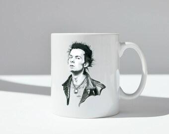 Sid Vicious ceramic mug, dishwasher safe