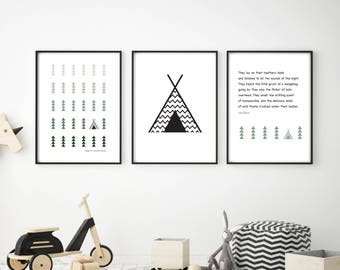Kids camping story, Scandinavian illustrations, Set of 3 images, A4 or A3, Kids Wall Art, Scandi, Kids Room Art, Printed Art