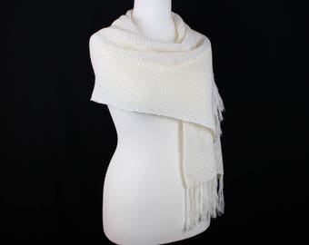 Merino wool shawl, White wool shawl, Summer shawl, Knit shawl, Womens knitted shawl