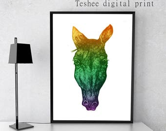 Printable art, Digital print, Instant download, jpg, Horse, Home decor, Wall art