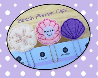 Planner Clips -Beach Clips- Sand Dollar-Oyster-Seashell-Paper Clips-Planner Accesory- Agenda Clip--Journal Clip-Bookmark-Felt Clips-