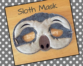 Sloth Felt Mask- Zootopia Mask-Child's Dress Up and Imaginary Play- Birthday Party Favor-Photo Shoot-Pretend Play-Theme Party