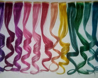"""2"""" Pink, Purple, Magenta, Blue Real, Human Hair Extensions, Colored Clip In Hair Extension, Dyed Extensions, Festival Hair, Hair Weave"""
