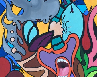 """Acrylic on stretched canvas. """"We Be Jammin"""""""