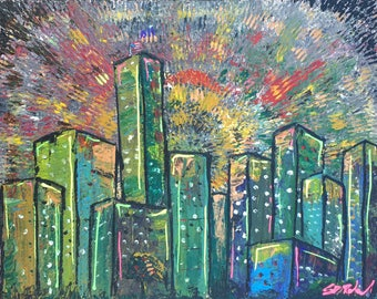"""Acrylic Abstract Cityscape cityon stretched canvas- """"Neon City"""""""