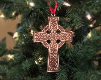 Celtic Cross Ornament wooden Christmas tree