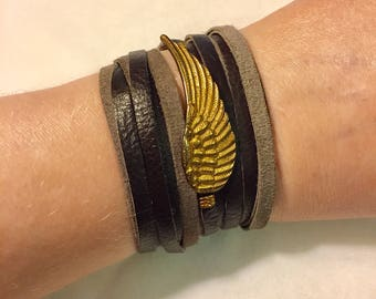 Vintage Chan Luu Leather Wrap Bracelet with Wing Embellishment