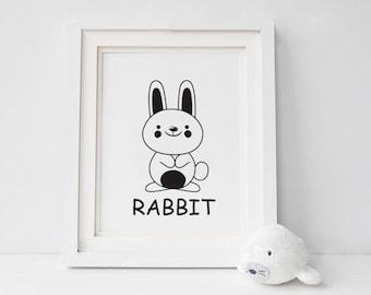 Rabbit Print Nursery Decor