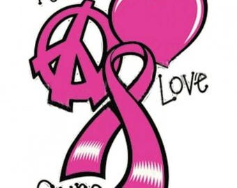 Peace Love Cure Breast Cancer Awareness Shirt New Various Sizes and Colors Available