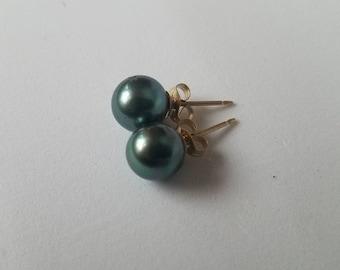Tahitian pearl studs pearls Tahitian Stud earrings 14k gold filled or sterling silver, Tahitian Pearl Jewelry, Classic Pearl earrings