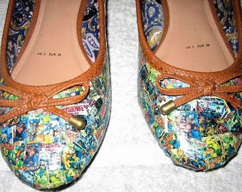 Customised hand made comic book flats.