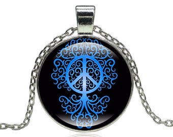 Peace tree Cabochon necklace