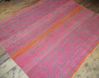 Peruvian vintage textile, frazada, handwoven Andean rug, Mesa cloth, organic natural rug, table cover