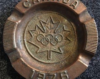 Rare 1976 Montreal, Quebec, Canada Summer Olymics bronzed tin commemorative ashtray