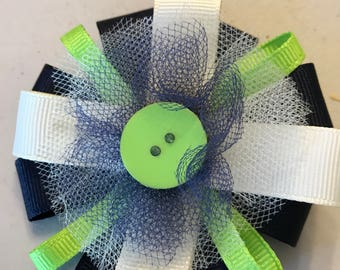 Navy & Cream accented with neon Green hair bow