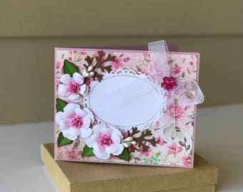 Custom card /3D/Birthday Card/Mother's Day Card/Valentine's Card/Anniversary Card/Wedding Card/Congratulations Card/Pink/gift card holder